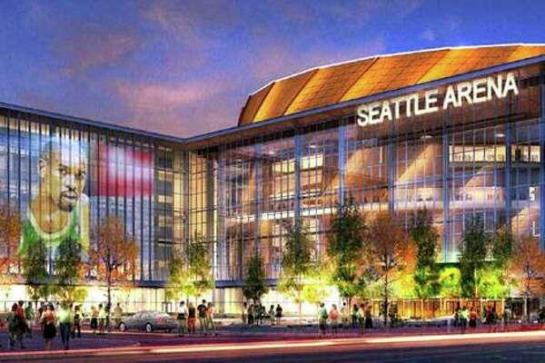 Renderings of the proposed Sonics arena in Seattle's Sodo neighborhood.