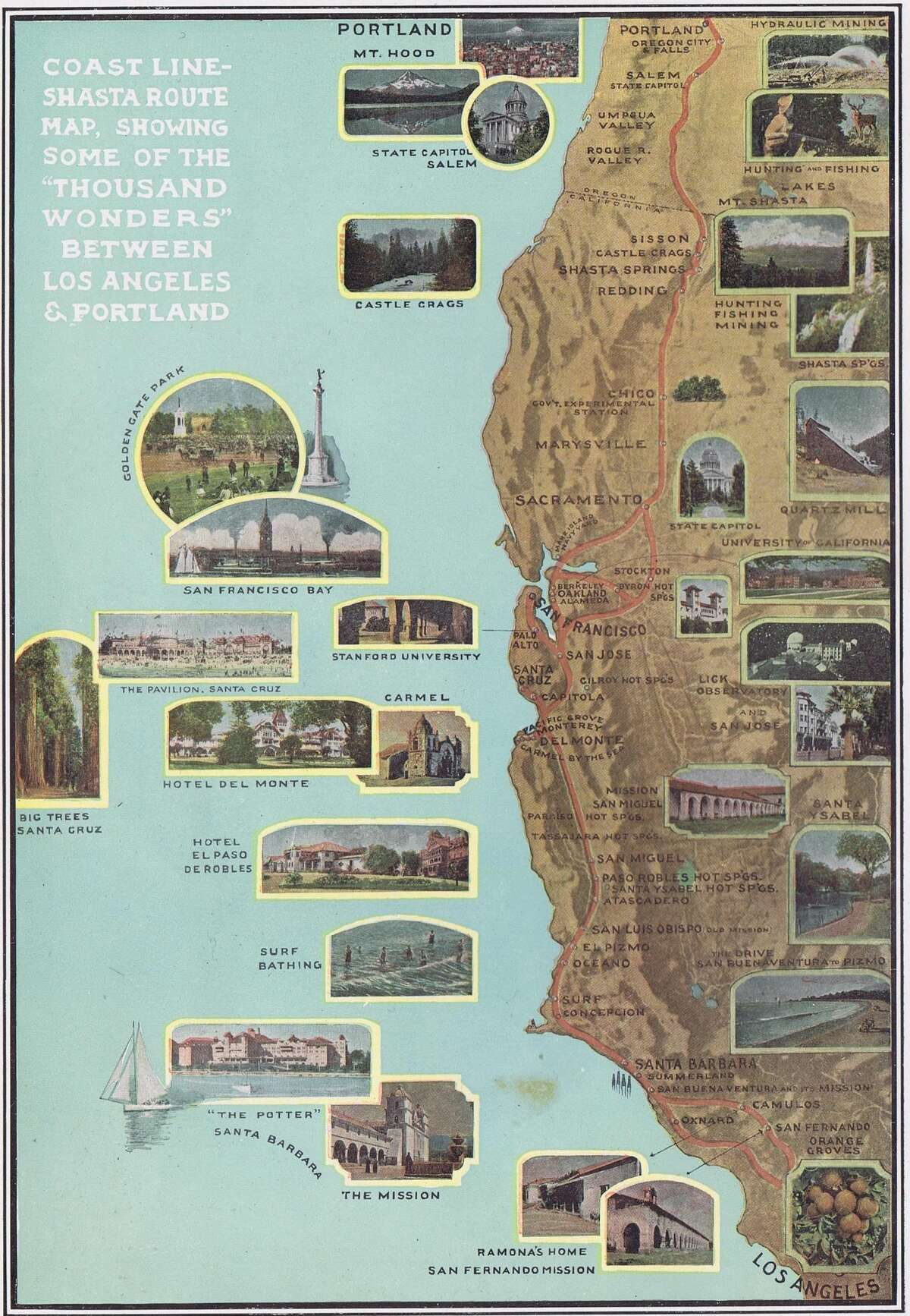 The Southern Pacific railroad line from Los Angeles to Oregon.