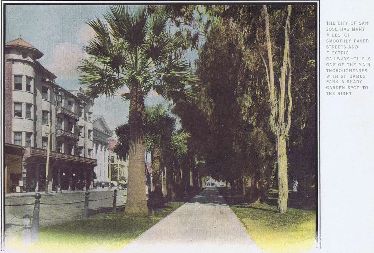 The city of San Jose has many miles of smoothly paved streets and electric railways - this is one of the main thoroughfares with St. James Park, a shady garden spot, to the right. The Southern Pacific railroad line from Los Angeles to Oregon.