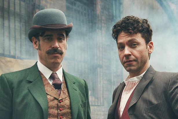 Stephen Mangan (left) appears as Sir Arthur Conan Doyle in the drama, and Michael Weston plays Harry Houdini.