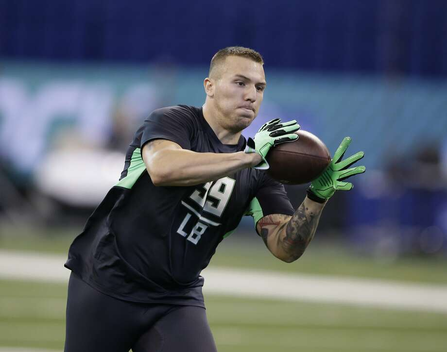 By the time former Arizona linebacker Scooby Wright ran drills at the NFL scouting combine in Indianapolis in February, some his his hair had grown back. Photo: Darron Cummings, AP