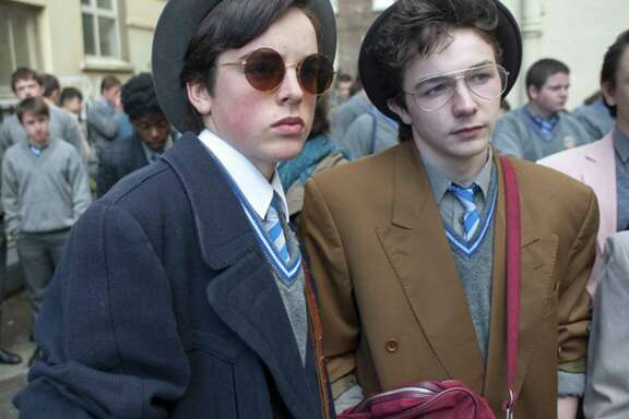 "Ferdia Walsh-Peelo, left, and Mark McKenna star in ""Sing Street."""