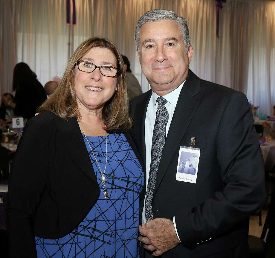 Albany, NY - April 19, 2016 - (Photo by Joe Putrock/Special to the Times Union) - Congregation Beth Emeth Rabbi Scott Shpeen (right) poses with Phyllis Frisch (left), recipient od the Susan Shpeen Memorial award named for his late wife, during the 16th Annual Sydney Albert Albany JCC Pillars of the Community Awards held at Congregation Beth Abraham Jacob in Albany. Photo: Joe Putrock / Joe Putrock