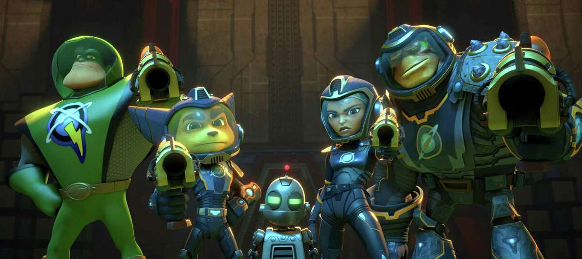 In thisimage released by Gramercy Pictures, from left, Captain Qwark voiced by Jim Ward, Ratchet voiced by James Arnold Taylor, Clank voiced by David Kaye, Cora voiced by Bella Thorne and Brax, voiced by Vincent Tong, appear in a scene from,