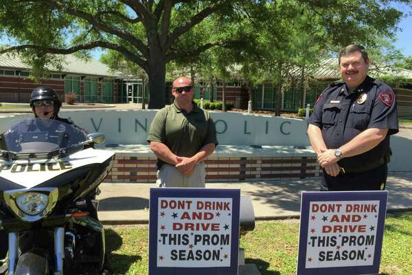 Alvin Police Department's Officer James Muhl, left, Sgt. David Ives and Chief Robert Lee encourage parents to have a conversation with their children about the dangers of underage drinking.