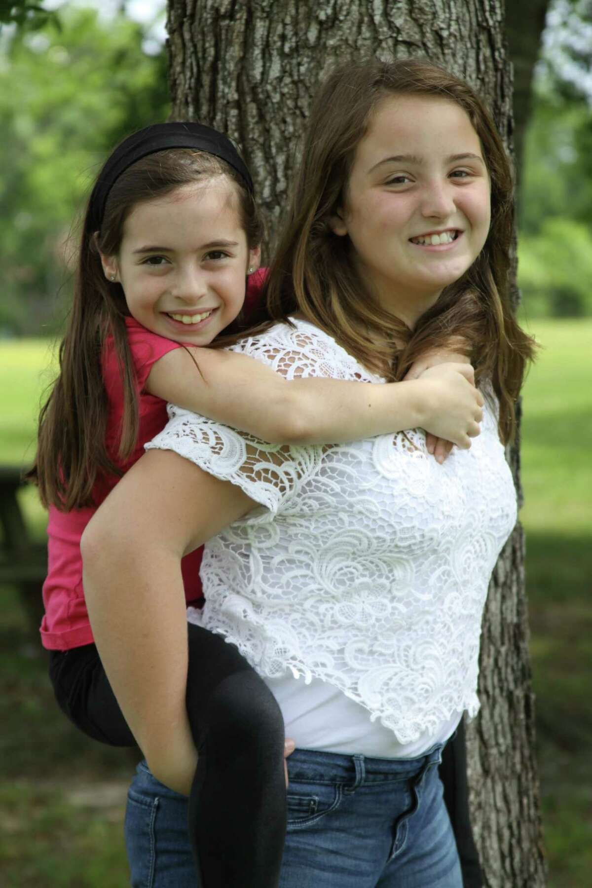 """Addison Rosenthal, left, and Emma Balsamo prepare for their roles as sisters Ramona and Beezus in Kids Backporch Productions' """"€œRamona Quimby, Age 8."""""""