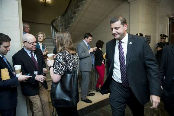 UNITED STATES - OCTOBER 28: Rep. David Valadao, R-Calif., arrives for the House Republican Conference meeting to vote on their nominee for Speaker of the House on Wednesday, Oct. 28, 2015. (Photo By Bill Clark/CQ Roll Call)