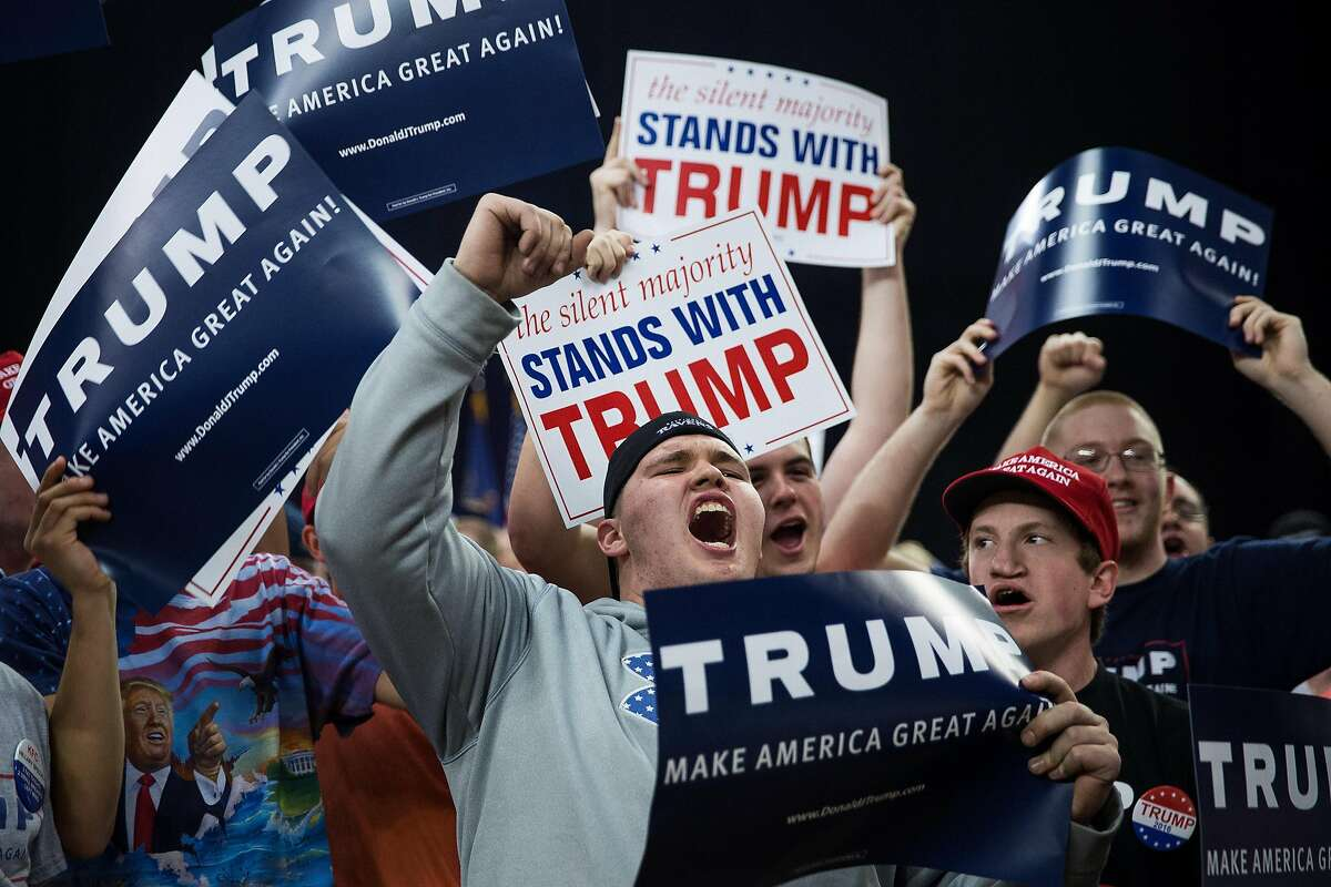 FILE-- Attendees at a campaign event with Donald Trump, a Republican presidential hopeful, at the Pennsylvania Farm Show Complex and Expo Center in Harrisburg, Pa., April 21, 2016. After strong showings from Trump in the Northeast, Indiana no longer looks like a must-win to capture the Republican nomination without a contested convention. (Damon Winter/The New York Times)