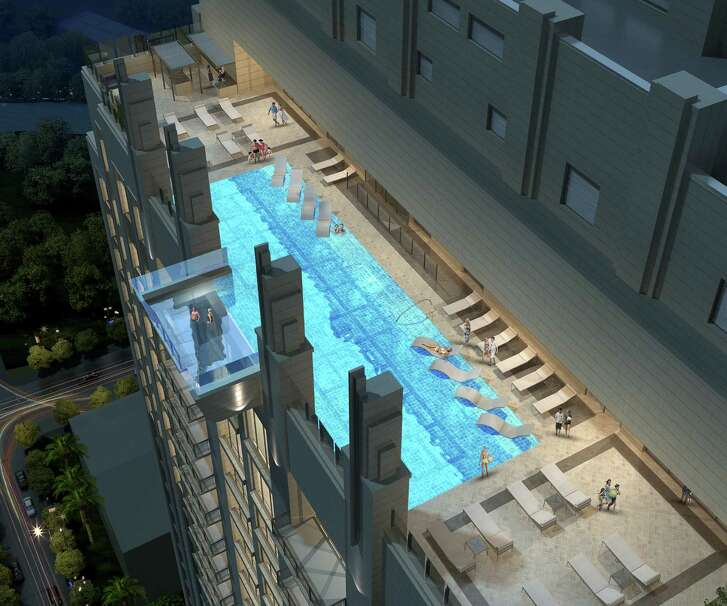 A rooftop pool downtown will have a see-through bottom.