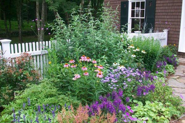 A colorful flower garden designed by Bridge Nursery in Greenwich.