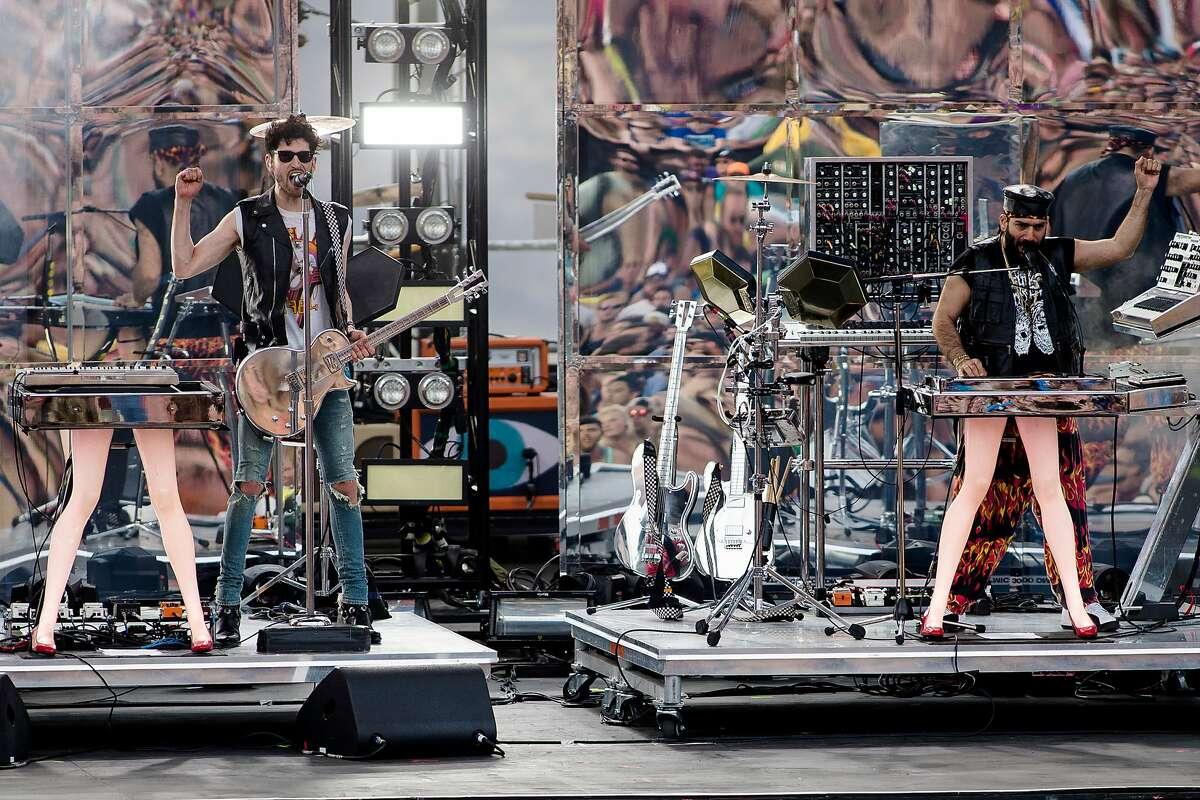Chromeo performs on the second of four days of the annual Sasquatch music festival Saturday, May 23, 2015, at The Gorge Amphitheatre in George, Washington. (Jordan Stead, seattlepi.com)