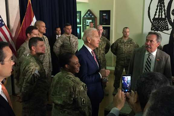 Vice President Joe Biden meets on Thursday with U.S. personnel serving in Iraq. His surprise visit was the third such trip this month by a high-level official, showing a sense of urgency as Iraq's struggles continue.