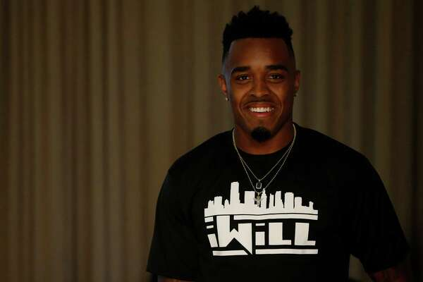 "University of Houston's William Jackson wearing an ""iWill"" t-shirt during his NFL Draft party at the Westin Oaks in the Galleria, Thursday, April 28, 2016, in Houston."