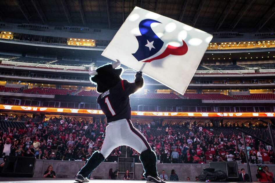 Houston Texans mascot Toro kicks off the Texans draft party at NRG Stadium on Thursday, April 28, 2016, in Houston.