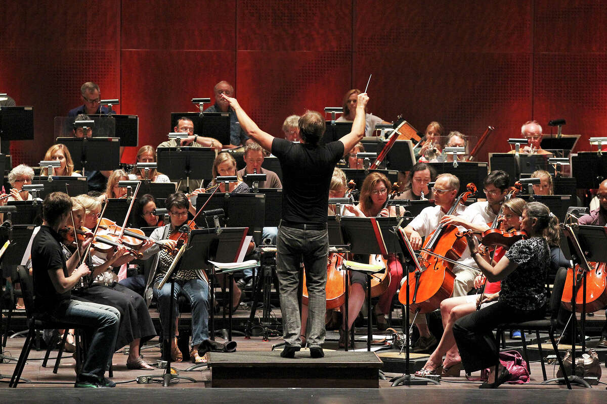 Music Director Sebastian Lang-Lessing rehearses the San Antonio Symphony at the Tobin Center for the Performing Arts.