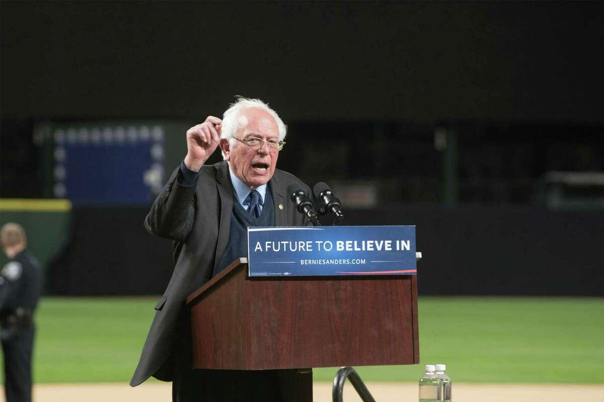 Bernie Sanders speaks at Safeco Field in 2016. Surprisingly, he hasn't been around in the 2020 campaign cycle.| Photo Credits: Corbis