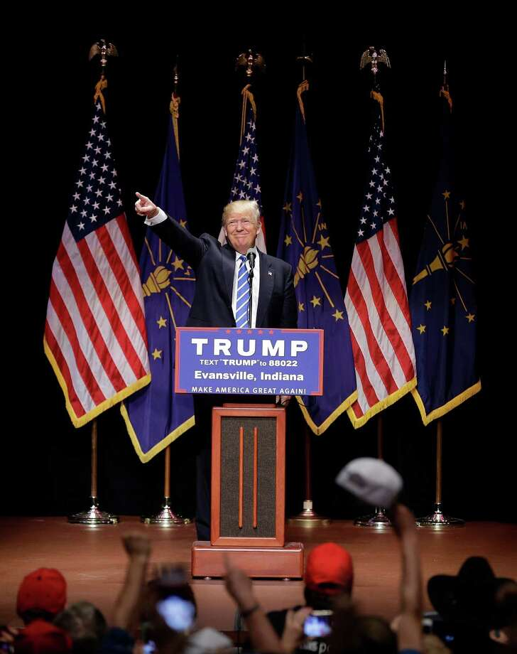 Republican presidential candidate Donald Trump speaks during a campaign stop at Old National Events Plaza, Thursday, April 28, 2016, in Evansville, Ind. (AP Photo/Darron Cummings) ORG XMIT: INDC108 Photo: Darron Cummings / Copyright 2016 The Associated Press. All rights reserved. This m