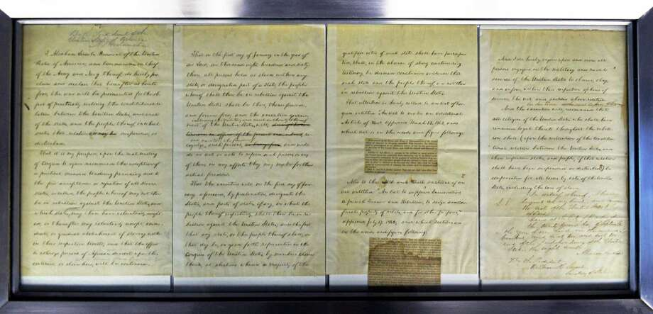 President Lincoln's draft of the Emancipation Proclamation at the New York State Museum Wednesday, Jan. 15, 2014, in Albany, N.Y. Photo: John Carl D'Annibale / 00025373A