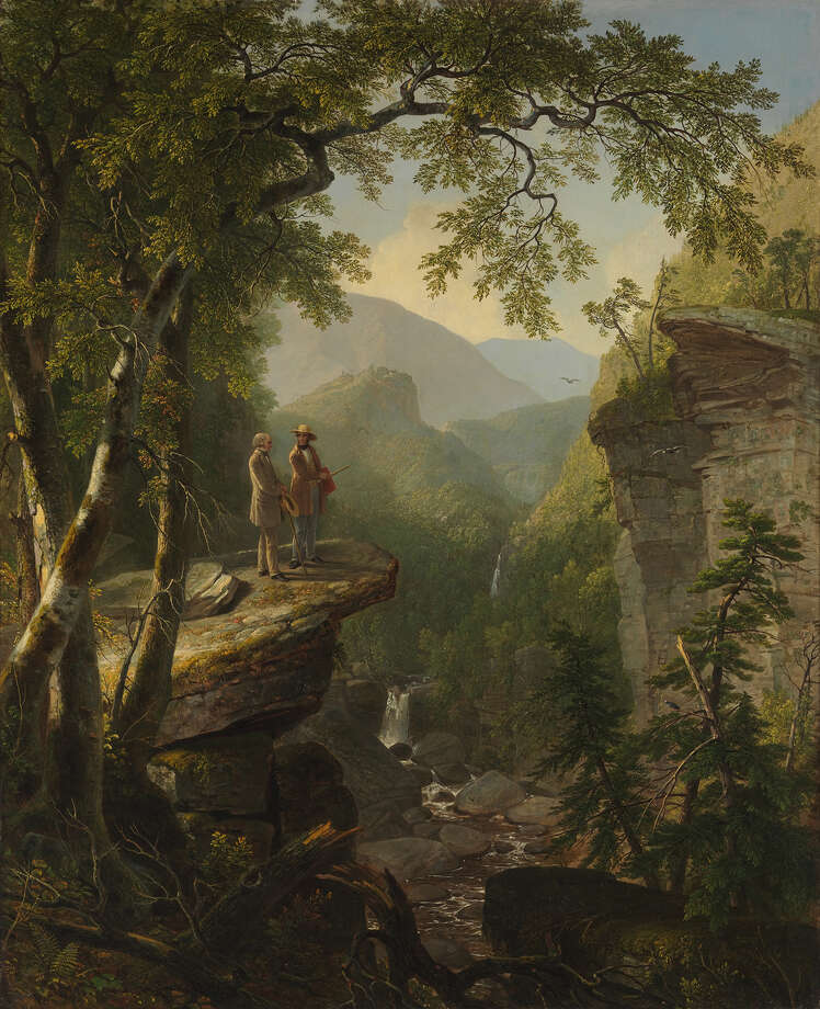 Asher B. Durand (1796-1886) Kindred Spirits 1849 Oil on canvas Kindred Spirits was commissioned by the merchant-collector Jonathan Sturges as a gift for William Cullen Bryant in gratitude for the nature poet's moving eulogy to Thomas Cole, who had died suddenly in early 1848. It shows Cole, who had been Jonathan Sturges mentor, standing in a gorge in Catskills in company of a mutual friend William Cullen Bryant. Photo: The Metropolitan Museum Of Art