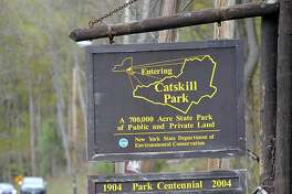A state park sign on Rt. 23A entering Catskill Park on Thursday, April 28, 2016 in Haines Falls, N.Y. (Lori Van Buren / Times Union)