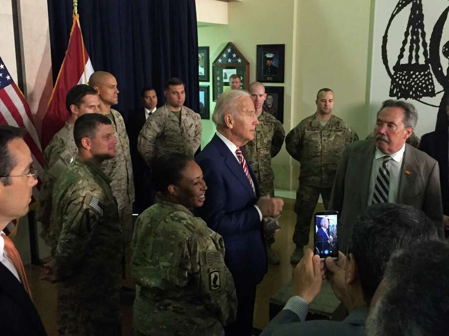 Vice President Joe Biden meets with U.S. diplomatic and military personnel serving in Iraq, Thursday, April 28, 2016, at the U.S. Embassy in Baghdad. (AP Photo/Josh Lederman) ORG XMIT: IRQL103 Photo: Josh Lederman / AP