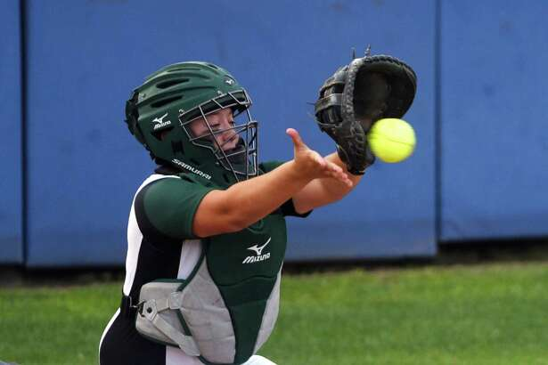 Southwest catcher Miranda Gonzales catches the ball during Class 6A bidistrict softball action against Brandeis at the SAISD Sports Complex on Thursday, April 28, 2016.