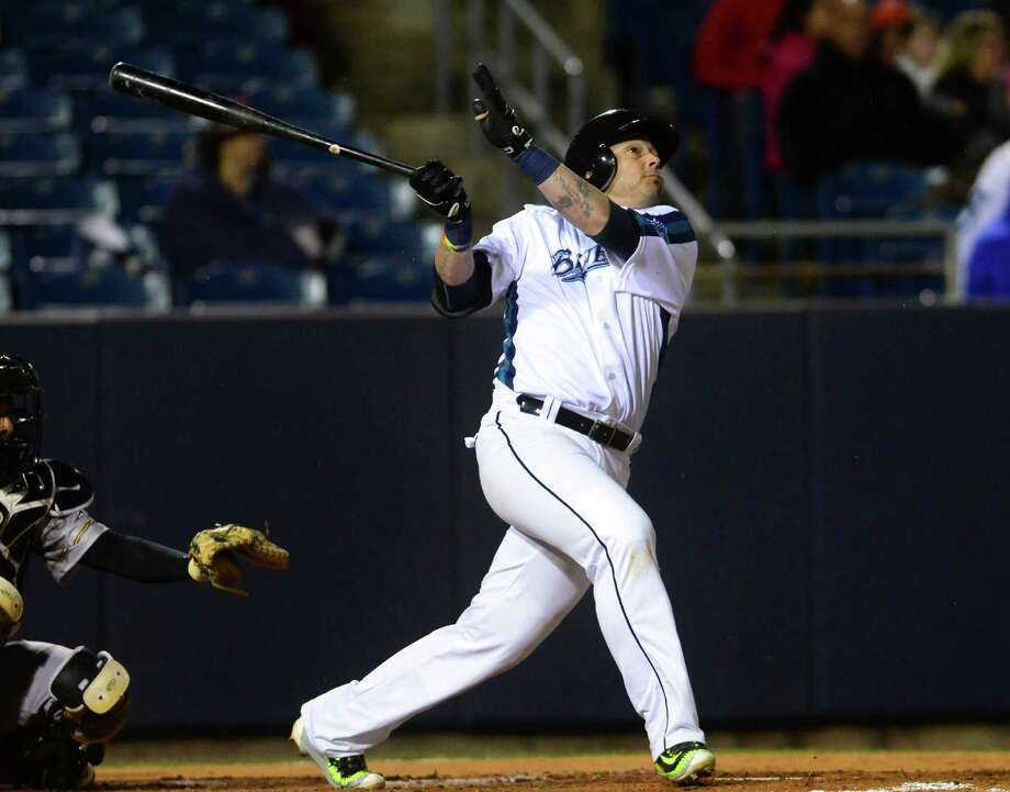Bluefish's Luis Rodriguez gets a hit during opening day baseball action between the Bridgeport Bluefish and the New Britain Bees at the Ballpark at Harbor Yard in Bridgeport, Conn., on Thursday Apr. 28, 2016. Photo: Christian Abraham / Hearst Connecticut Media / Connecticut Post