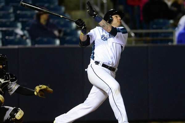 Bluefish's Luis Rodriguez gets a hit during opening day baseball action between the Bridgeport Bluefish and the New Britain Bees at the Ballpark at Harbor Yard in Bridgeport, Conn., on Thursday Apr. 28, 2016.
