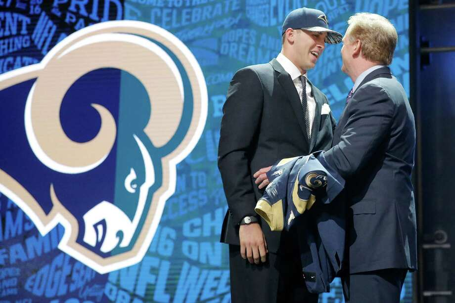 CHICAGO, IL - APRIL 28:  (L-R) Jared Goff of the California Golden Bears talks with NFL Commissioner Roger Goodell after being picked #1 overall by the Los Angeles Rams during the first round of the 2016 NFL Draft at the Auditorium Theatre of Roosevelt University on April 28, 2016 in Chicago, Illinois.  (Photo by Jon Durr/Getty Images) ORG XMIT: 609385781 Photo: Jon Durr / 2016 Getty Images