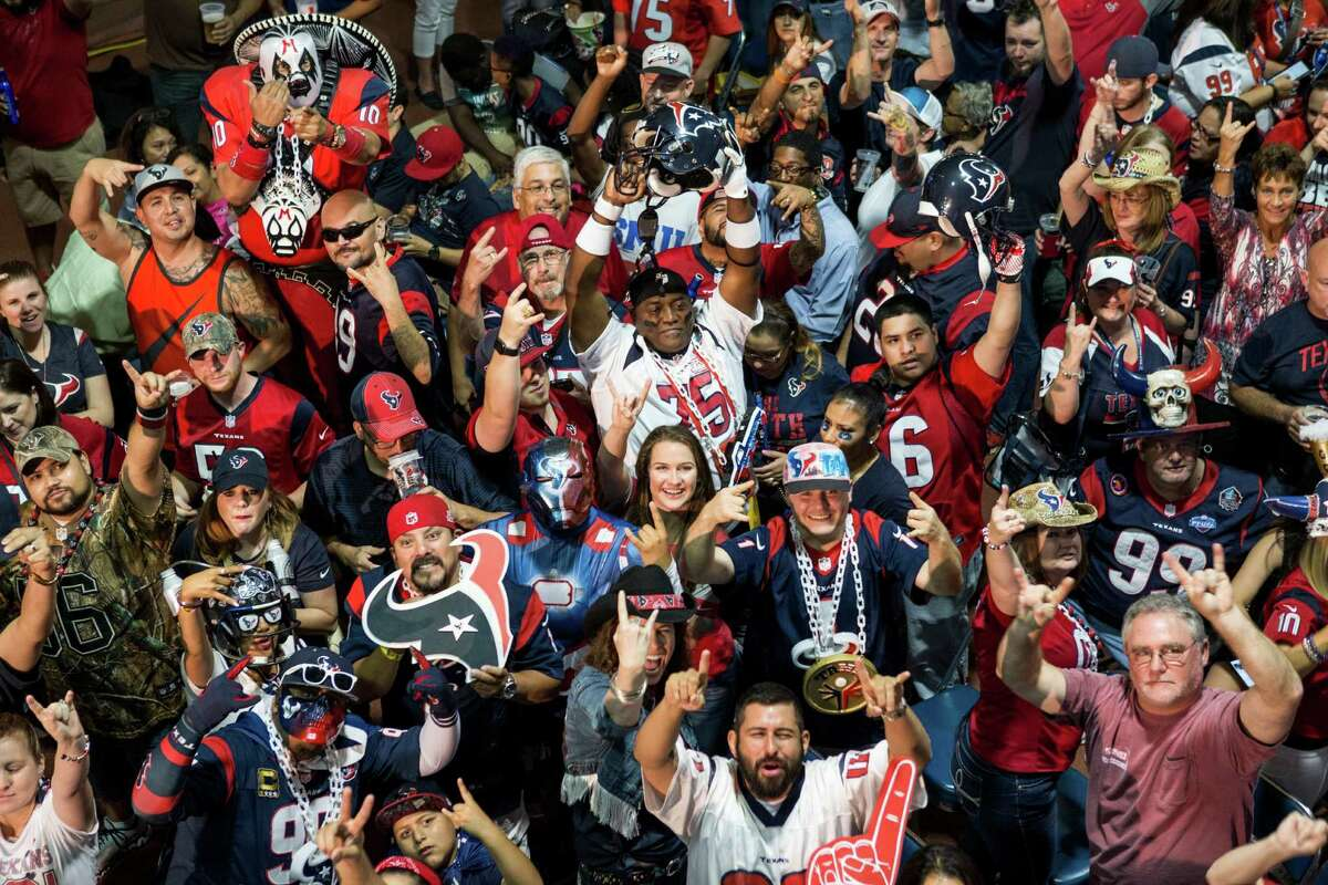 Houston Texans fans gather as they wait for the Texans No. 1 selection in the NFL Draft at NRG Stadium on Thursday, April 28, 2016, in Houston. The Texans traded up to take Notre Dame wide receiver Will Fuller with the 21st pick overall.