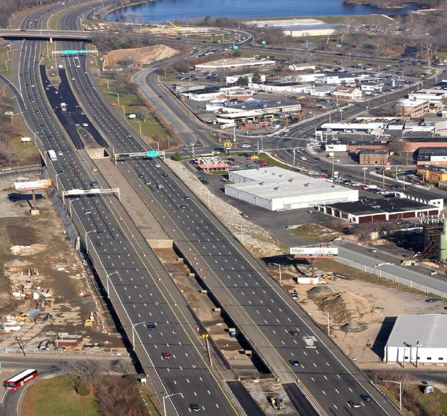 This is the area of Route 8/25 in Bridgeport where four prefabricated bridges will be built into place in Lindley Street and Capital Avenue areas of the highway. The prefab bridges are being built off northbound Exit 5 and will be moved to the construction area this summer. The work will require the closure of one site of Route 8/25. Photo: Connecticut DOT