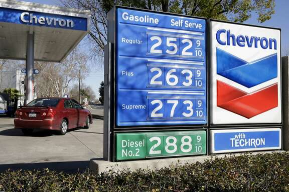 FILE - In this Monday, Feb. 8, 2016, file photo, gas prices are displayed at a Chevron gas station in Sacramento, Calif. Chevron reports financial results Friday, April 29, 2016. (AP Photo/Rich Pedroncelli, File)