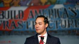 Housing and Urban Development Secretary Julian Castro speaks at the 2016 Legislative Conference of North America's Building Trades Unions in Washington, Tuesday, April 19, 2016. Democratic presidential candidate Hillary Clinton also spoke at this event. (AP Photo/Pablo Martinez Monsivais)