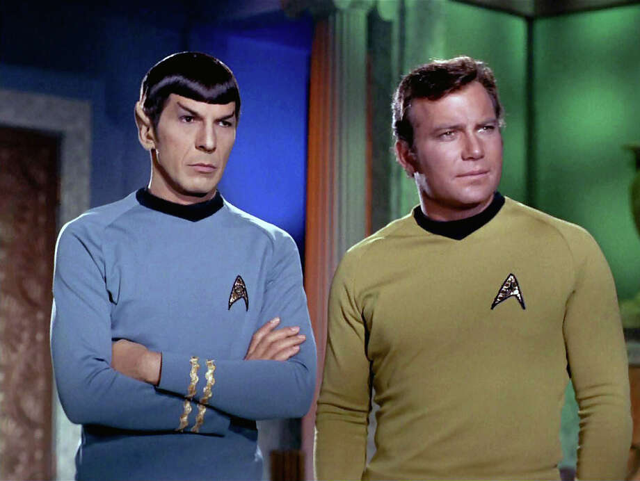 """Leonard Nimoy as Mr. Spock and William Shatner as Captain James T. Kirk in the STAR TREK episode, """"Plato's Stepchildren."""" Original air date, November 22, 1968. Photo: Photo By CBS Photo Archive, Contributor / 1966 CBS Photo Archive"""