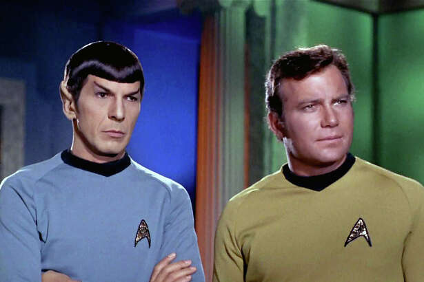 """Leonard Nimoy as Mr. Spock and William Shatner as Captain James T. Kirk in the STAR TREK episode, """"Plato's Stepchildren."""" Original air date, November 22, 1968. Season 3, episode 10.  LOS ANGELES - NOVEMBER 22: Leonard Nimoy as Mr. Spock and William Shatner as Captain James T. Kirk in the STAR TREK episode, """"Plato's Stepchildren.""""  Original air date, November 22, 1968.  Season 3, episode 10.  Image is a screen grab.  (Photo by CBS via Getty Images)   For editorial use only. Any commercial or promotional use of CBS content requires. CBS's prior written consent - contact your local office for assistance."""