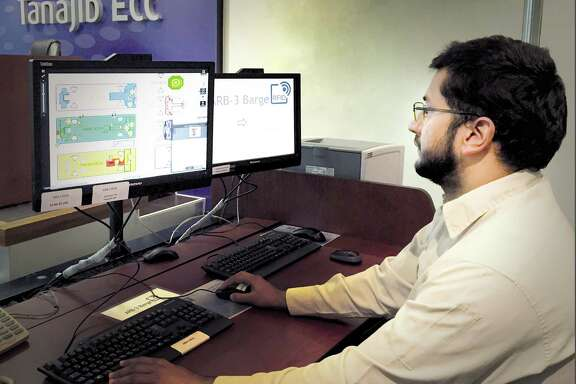 At an Emergency Control Center (ECC) in Saudi Arabia, Aramco personnel receive information allowing them to track crew members and visitors on an offshore heavy-lift jackup. Using radio frequency identification (RFID) technology increases safety by virtually eliminating uncertainty about the number of people aboard a vessel and their location.