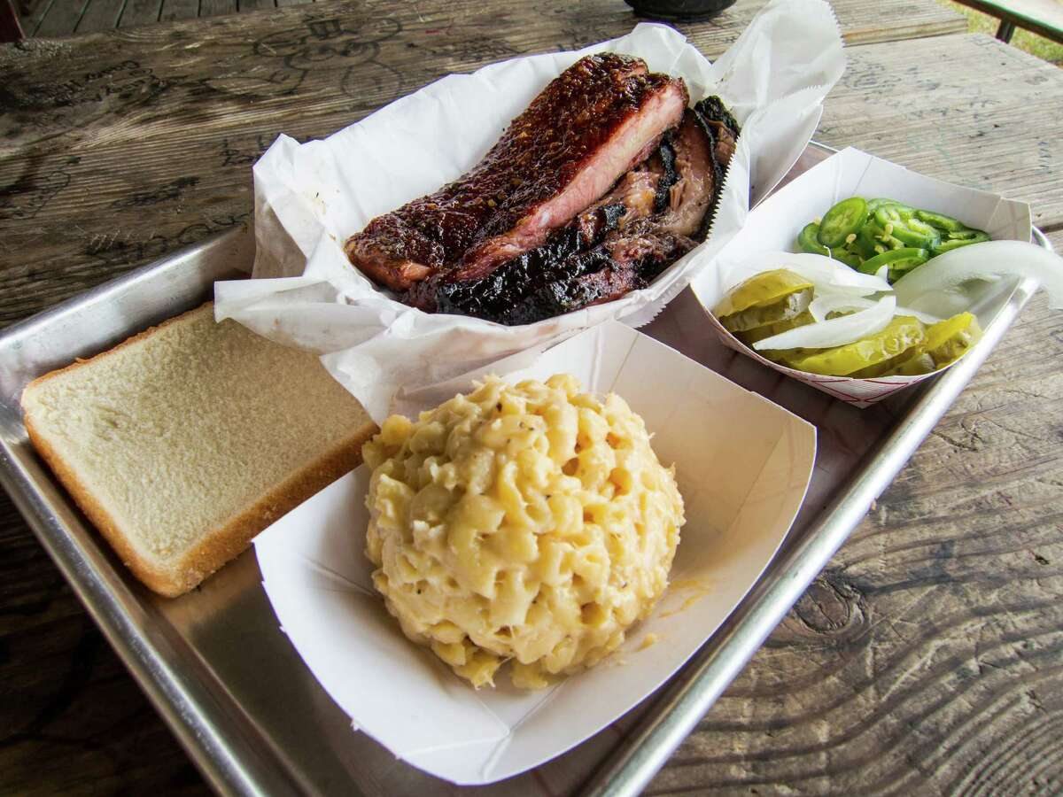 Ribs and brisket with sides at CorkScrew BBQ