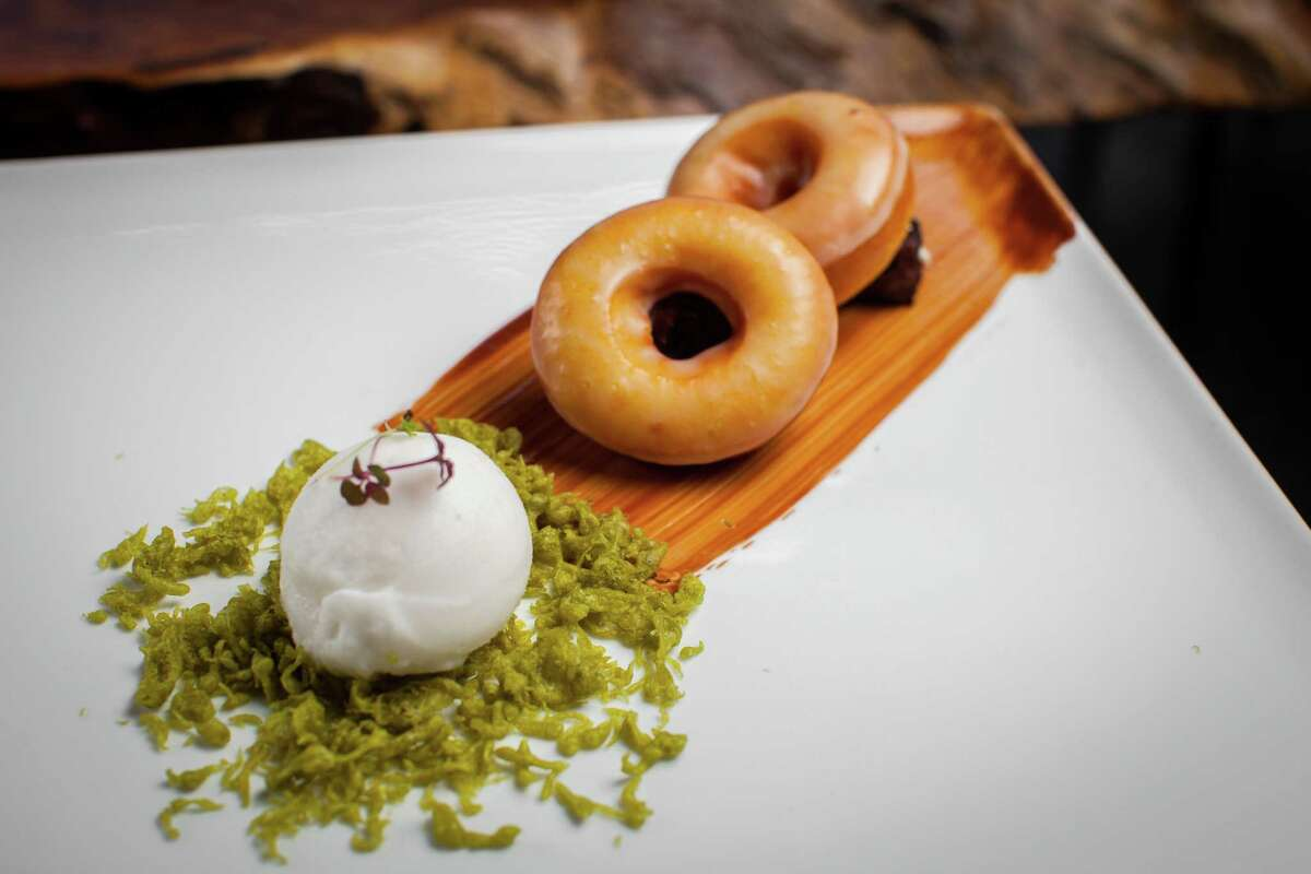 Kuu restaurant's gelato and doughnut dessert