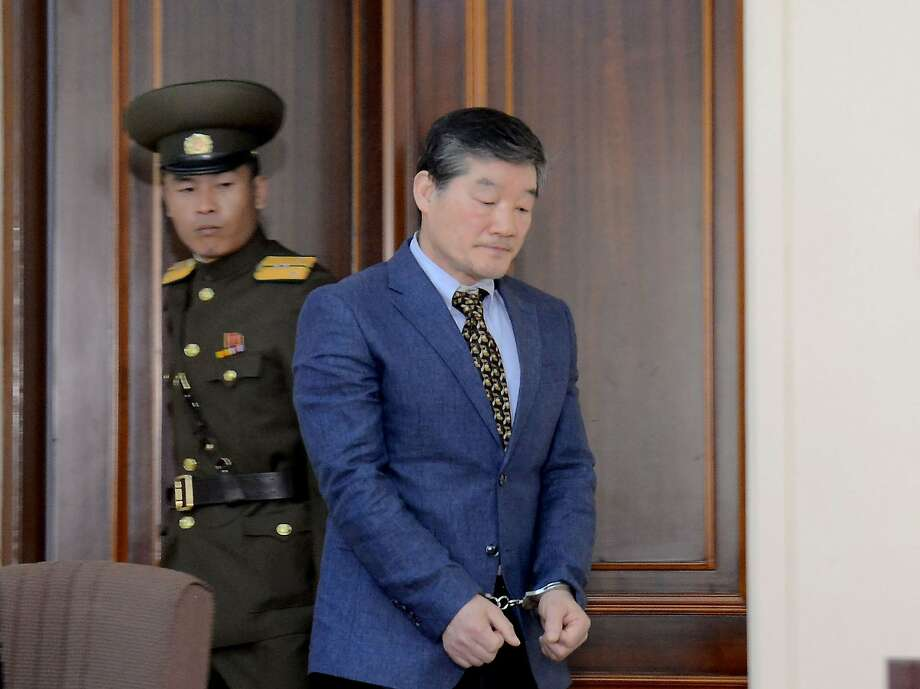 Kim Tong Chol, a U.S. citizen of Korean heritage, enters a courtroom in handcuffs in Pyongyang. Photo: KCNA, AFP/Getty Images