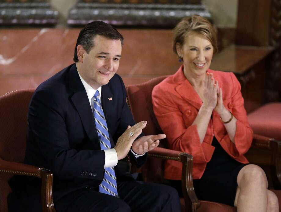 GOP candidate Sen. Ted Cruz, R-Texas, and his vice presidential choice, Carly Fiorina, participate in a question-and-answer event in Indianapolis. Photo: Darron Cummings, Associated Press