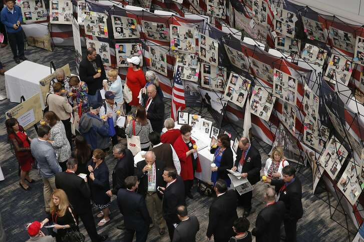 GOP attendees gather during the kick off the California Republican Party convention on Fri. April 29, 2016, in Burlingame, California.