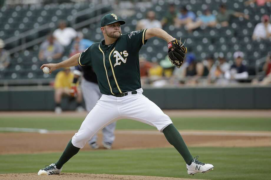 Oakland Athletics starting pitcher Jesse Hahn during a spring training baseball game against the Cleveland Indians in Mesa, Ariz., Monday, March 28, 2016. (AP Photo/Jeff Chiu) Photo: Jeff Chiu, AP