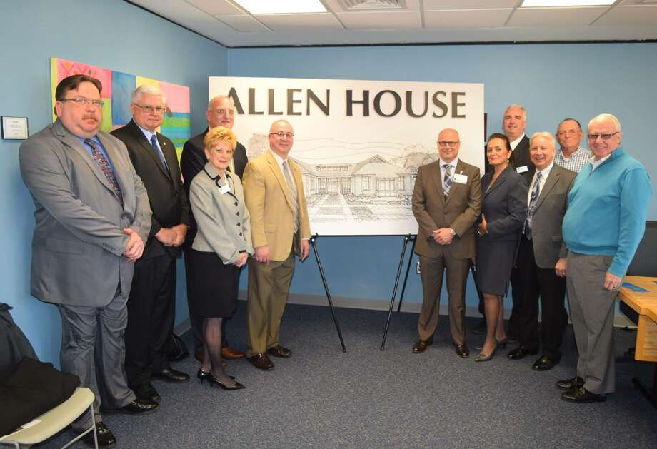 Fulton Montgomery Community College announced a $2 million planned bequest from the estate of Frances Allen on Friday, April 29, 2016. Left to right are John Lesniewski, Foundation board member; Ed Jasewicz, trustee chairman; Lesley Lanzi, Foundation director; Del B. Salmon, Foundation chairman; Del Swanger, FMCC president; trustees Geoff Peck, Taiyebeh Moghadam-Ghazi, Chris Swatt, James Landrio and  Lee Hollenbeck; and James Hinkle, Foundation board member. (Fulton Montgomery Community College)