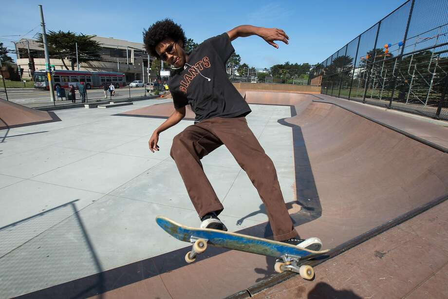 Miles Thomas, 17, skates at Balboa Park before his class starts on Friday, April 29, 2016 in San Francisco, Calif. Prop B would provide $3 million a year for parks from the city's general fund. Thomas said there's not many accessible skate parks and would like to see more made out of concrete, which Thomas said it's a better material to skate on. Photo: Santiago Mejia, Special To The Chronicle