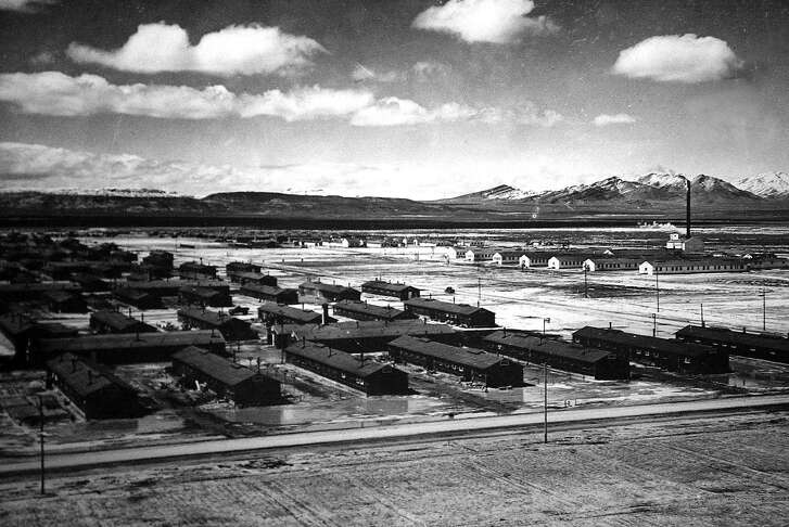 "This photo of the Topaz, Utah Relocation Center, where many San Mateo Japanese Americans were housed during the war. The photo is from the book ""Building a Community:  The Story of Japanese Americans in San Mateo County."""