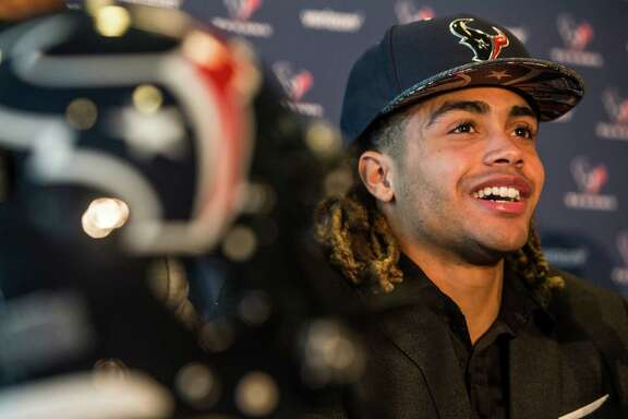 Houston Texans top draft pick, Notre Dame wide receiver Will Fuller, smiles as he answers questions during a news conference at NRG Stadium on Friday, April 29, 2016, in Houston.