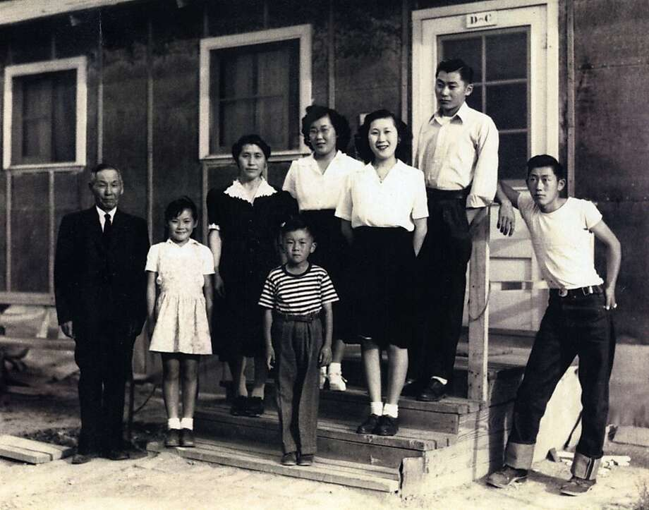 Margaret Shimada and her family in front of their barrack at Topaz internment camp, Utah, 1944. Photo: Handout
