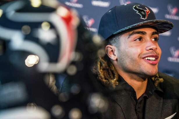 Houston Texans top draft pick, Notre Dame wide receiver Will Fuller, answers questions during a news conference at NRG Stadium on Friday, April 29, 2016, in Houston.