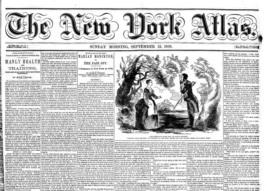 "Walt Whitman's ""Manly Health and Training"" series was published in the New York Atlas in 13 installments in 1858. The first installment fills much of the left two columns of this front page Photo: Walt Whitman Quarterly Review At The University Of Iowa"