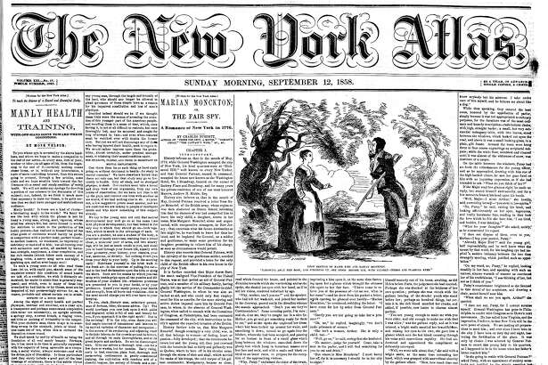 "Walt Whitman's ""Manly Health and Training"" series was published in the New York Atlas in 13 installments in 1858. The first installment fills much of the left two columns of this front page"